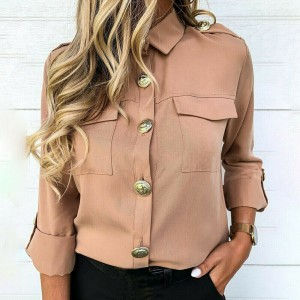 2019 New Women's Long Sleeve Button Down Shirts Solid Casual OL Tops Casual Loose Pocket Blouses Autumn Clothes Outfit