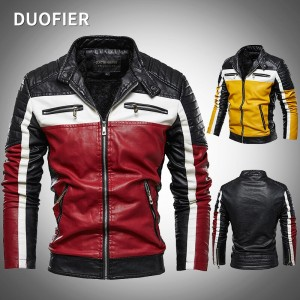 2021 Brand Men's Leather Jackets Autumn Winter New Patchwork Pu Leather Overcoat Male Clothing Casual Biker Jackets Outer Wear
