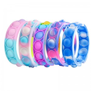 #ab Pops Bubble Simple Dimple Toy Fidget Anti Stress Relief Colorful Silicone Bracelet Anxiety Sensory For Autism Children