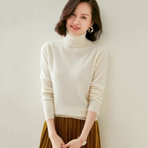 2021 New 100%Pure Cashmere Sweater Pure Color Knitted Gaocollar Pullover Pure Cashmere Sweater  Large Size Sweater Women