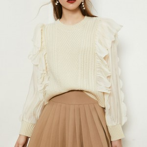 2021 Women Sweater Fashion Ruffles Mesh Patchwork Sweet Long Sleeve Solid Retro Stretchy Female Knitted Clothes  Winter Sweaters