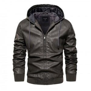 2021 Autumn Winter Men's Leather Biker Jackets And Coats With Hood Fashion Faux Leather Motorcycle Biker Outerwear Parkas